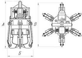 Чертеж многочелюстного моторного грейфера