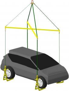 Комплект для подъема легковых автомобилей траверса с четырьмя захватами 7СЭС1/1-0,75