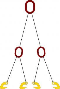 Строп четырехветвевой для одновременного подъема двух труб (с захватами 2СЭС7)